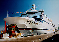 Over 85,000 passengers have had their Holiday plans interrupted as Brittany Ferries have reduced their fleet due to  covid 19 quarantine restrictions to travel to foreign countries.<br /> <br /> The following changes have now been confirmed:<br /> Brittany Ferries Pont-Aven will replace Armorique on the Plymouth to Roscoff route from 10 September with three return trips per week.<br /> Pont-Aven will also continue to operate one return sailing from Plymouth to Santander and from Roscoff to Cork during the week.<br /> Brittany Ferries Bretagne will be laid up from 7 September. She currently serves the Portsmouth to St Malo route.<br /> Brittany Ferries Etretat will not resume crossings, as planned: Connemara will continue to operate the Cherbourg and Le Havre rotations from Portsmouth, but will no longer serve Spain.<br /> <br /> Photo by Brian Jordan