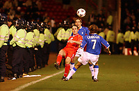 Fotball: Aberdeen v Rangers, Scottish Premier League. Pittodrie. Saturday January 19th.  2002.<br />Police surround the p[itch as the game goes on with Robbie Winters getting the better of Ricksen and Caniggia.<br /><br />Foto: Ian Stewart, Digitalsport