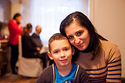 Portrait of mother Andrea Danova (26) with her son Justin Brodi (6) during a meeting with volunteers and mothers with their children for consultation and data collection regarding school enrolments in Ostrava. The meeting was in a volunteers flat.