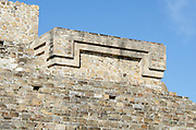 Architectural detail on Building H at Monte Alban, Oaxaca, Mexico.