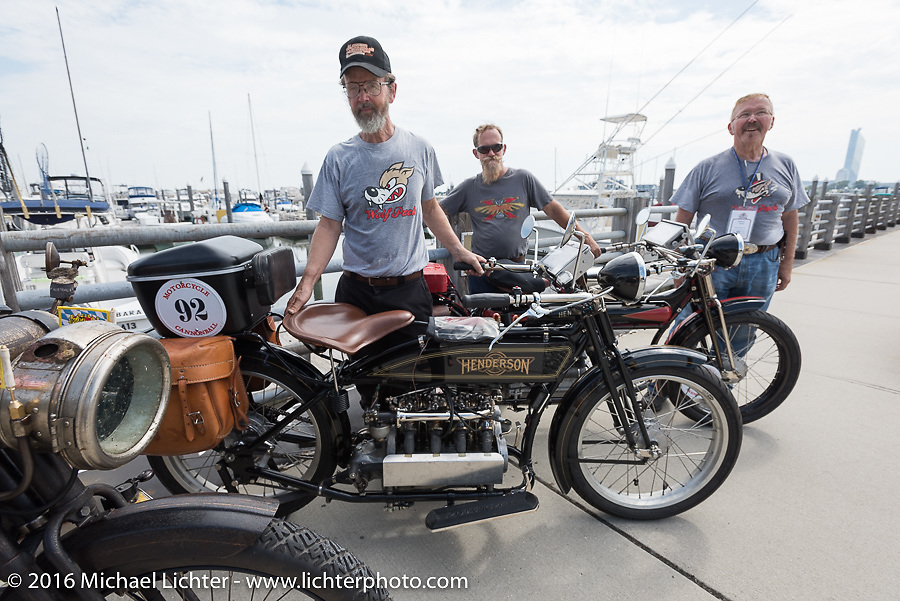 Brian Pease (L), Steve MacDonald and Robert Addis with all of the 4-Cylinder Henderson's on the boardwalk before the start of the Motorcycle Cannonball Race of the Century Run. Atlantic City, NJ, USA. September 9, 2016. Photography ©2016 Michael Lichter.