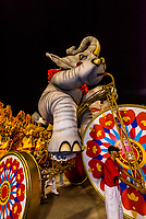 """Carnaval parade of Academicos do Salgueiro samba school in the Sambadrome, Rio de Janeiro, Brazil.<br /> <br /> The theme of their parade is """"The Black King of the Riding Arena"""". It is a tribute to Benjamin de Oliveira, the first black clown in Brazil."""