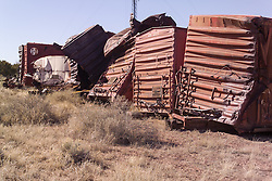 Santa Fe Railroad Boxcar Graveyard along Historic Route 66 and Route 40 in New Mexico where Wrecks go to die. 23 March 2008