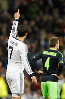 04.12.2012 SPAIN -  Champions League 12/13 Matchday 6th  match played between Real Madrid CF vs AFC Ajax (4-1) at Santiago Bernabeu stadium. The picture show Cristiano Ronaldo (Portuguese forward of Real Madrid) celebrating his team's goal