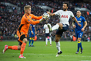 AFC Wimbledon Goal Keeper George Long (1) saves from Spurs Mousa Dembele (19) during the The FA Cup 3rd round match between Tottenham Hotspur and AFC Wimbledon at Wembley Stadium, London, England on 7 January 2018. Photo by Robin Pope.