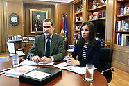 032620 Spanish Royals attend a videoconference at Zarzuela Palace