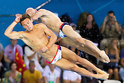 Mcc0041438 . Daily Telegraph..DT Sport..2012 Olympics..Tom Daley and Peter Waterfield competing in the 10 meter Diving Finals i which they came fourth with a non medal position...30 July 2012...