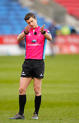 Referee Craig Maxwell-Keys debates with the Television Match Official before disallowing a Sale try during a Gallagher Premiership Round 14 Rugby Union match, Sunday, Mar 21, 2021, in Eccles, United Kingdom. (Steve Flynn/Image of Sport)