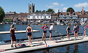 Henley-on-Thames. United Kingdom.  Hollandia Roeiclub women's eight boating to competer in the final. NED W8+.2017 Henley Royal Regatta, Henley Reach, River Thames. <br /> <br /> <br /> 11:11:06  Sunday  02/07/2017   <br /> <br /> [Mandatory Credit. Peter SPURRIER/Intersport Images.