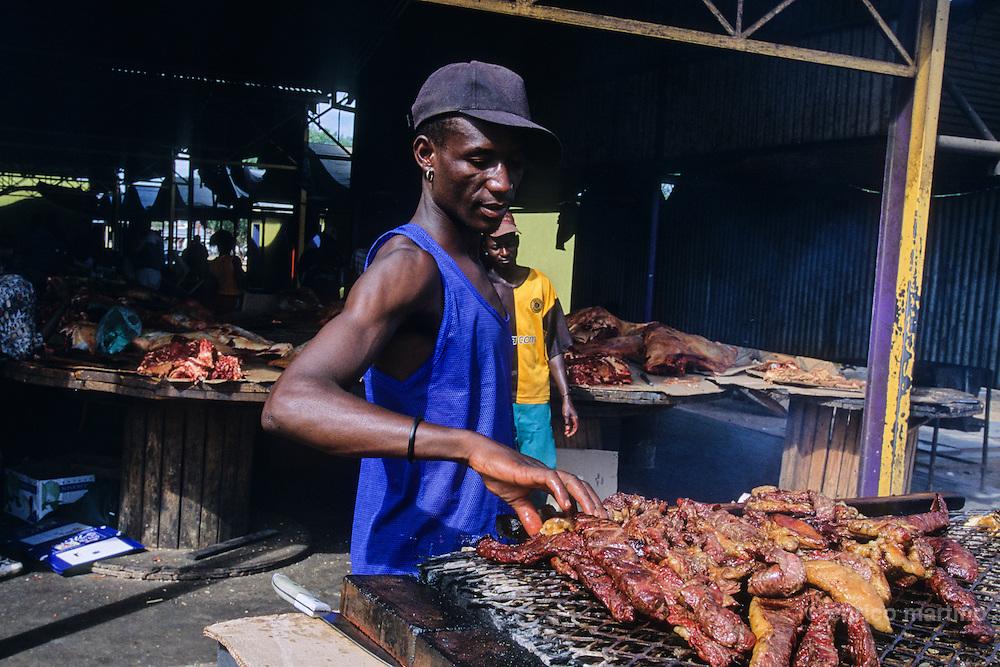 "Katutura, ""We do not have a permanent habitat"", a township  where black people of the capital lived in Apartheid years. Kakurukaze market, Meat Market."