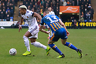 Wolverhampton Wanderers Forward Adama Traore (37) on the ball during the The FA Cup fourth round match between Shrewsbury Town and Wolverhampton Wanderers at Greenhous Meadow, Shrewsbury, England on 26 January 2019.