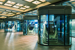 Driverless PRT Personal Rapid Transport Pod gcars at Masdar City technical institute in Abu Dhabi United Arab Emirates