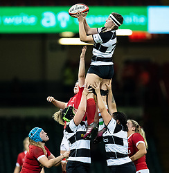 Anna Caplice of Barbarians claims the lineout<br /> <br /> Photographer Simon King/Replay Images<br /> <br /> Friendly - Wales v Barbarians - Saturday 30th November 2019 - Principality Stadium - Cardiff<br /> <br /> World Copyright © Replay Images . All rights reserved. info@replayimages.co.uk - http://replayimages.co.uk