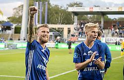 Nicolai Geertsen og Magnus Warming (Lyngby Boldklub) efter kampen i 3F Superligaen mellem Lyngby Boldklub og Hobro IK den 20. juli 2020 på Lyngby Stadion (Foto: Claus Birch).