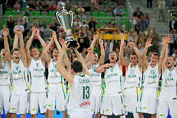 European champions Lihtuania during basketball match between National teams of Lithuania and France in Final match of U20 Men European Championship Slovenia 2012, on July 22, 2012 in SRC Stozice, Ljubljana, Slovenia. Lithuania defeated France 50:49. (Photo by Matic Klansek Velej / Sportida.com)