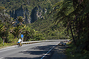 """A cyclist wanders along State Highway 6, crossing the Pororari River gorge near Punakaiki. A sign amidst the rainforest reads: """"Hotel 300m on right""""."""