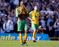 Photo: Daniel Hambury.<br /> Fulham v Norwich City.<br /> FA Barclays Premiership.<br /> 15/05/2005.<br /> Fulham's and Norwich's Damien Francis looks gutted as his side are relegated.