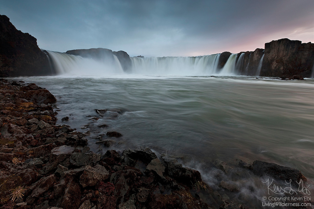 """Goðafoss, which means """"Waterfall of the Gods,"""" is regarded as one of the most spectacular waterfalls in Iceland. Located near Mývatn, it plunges 12 meters and is more than 30 meters wide."""