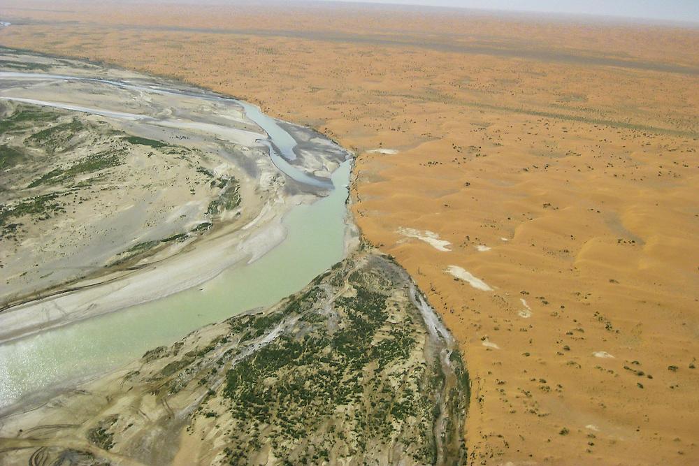 Flying along Afghanistan's Red Desert in April of 2011