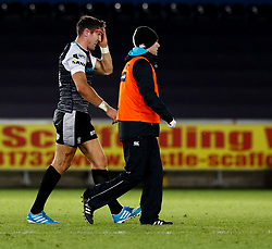 2nd November, Liberty Stadium , Swansea, Wales ; Guinness pro 14's Ospreys Rugby v Glasgow Warriors ;  James Hook of Ospreys leaves the field<br /> <br /> Credit: Simon King/News Images<br /> <br /> Photographer Simon King/Replay Images<br /> <br /> Guinness PRO14 Round 8 - Ospreys v Glasgow Warriors - Friday 2nd November 2018 - Liberty Stadium - Swansea<br /> <br /> World Copyright © Replay Images . All rights reserved. info@replayimages.co.uk - http://replayimages.co.uk