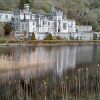 View of Kylemore Abbey and lake