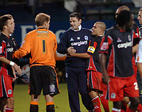 Photo: Kevin Poolman.<br />Luton Town v Queens Park Rangers. Coca Cola Championship. 11/11/2006. QPR manager John Gregory (centre) celebrates with his players after their victory over Luton.