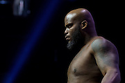 LAS VEGAS, NV - JULY 6:  Derrick Lewis stands on the scale during the UFC Fight Night weigh-ins at T-Mobile Arena on July 6, 2016 in Las Vegas, Nevada. (Photo by Cooper Neill/Zuffa LLC/Zuffa LLC via Getty Images) *** Local Caption *** Derrick Lewis