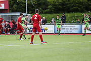 Jordan Stevens shoots at goal goal keeper makes a save during the Pre-Season Friendly match between Worthing FC and Forest Green Rovers at Woodside Road, Worthing, Uni on 1 August 2017. Photo by Shane Healey.