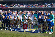 The entire USA women's soccer team poses for the team photo before an international friendly soccer game against Korea Repbulic in Chicago, Sunday, Oct. 6, 2019, in Chicago. The team splayed to a 1-1 tie. (Max Siker/Image of Sport)