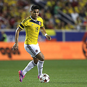 Teofilo Gutierrez, Colombia, in action during the Colombia Vs Canada friendly international football match at Red Bull Arena, Harrison, New Jersey. USA. 14th October 2014. Photo Tim Clayton