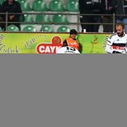 Besiktas's Jose Ernesto Sosa celebrate his goal with team mate during their Turkish Super League soccer match Caykur Rizespor between besiktas at the Yeni Rize Sehir stadium in Rize Turkey on Sunday, 08 February 2015. Photo by Batuhan AKICI/TURKPIX