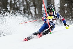 """Mark Engel (USA) competes during 1st Run of FIS Alpine Ski World Cup 2017/18 Men's Slalom race named """"Snow Queen Trophy 2018"""", on January 4, 2018 in Course Crveni Spust at Sljeme hill, Zagreb, Croatia. Photo by Vid Ponikvar / Sportida"""