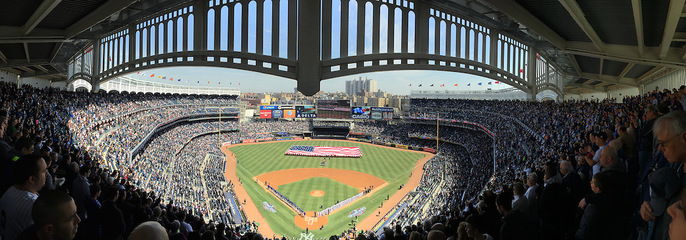 A panoramic view of the opening ceremony during the New York Yankees Vs Toronto Blue Jays season opening day at Yankee Stadium, The Bronx, New York. 6th April 2015. Photo Tim Clayton