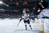 KELOWNA, CANADA - APRIL 26: Nick Merkley #10 of the Kelowna Rockets high fives the bench after scoring a second period goal against the Seattle Thunderbirds on April 26, 2017 at Prospera Place in Kelowna, British Columbia, Canada.  (Photo by Marissa Baecker/Shoot the Breeze)  *** Local Caption ***