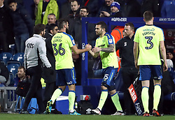 Derby County's Joe Ledley (left) is substituted for Bradley Johnson during the Sky Bet Championship match at Loftus Road, London.