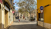 21 March 2020 - one week into lockdown. Empty streets in Sant Cugat del Valles, a normally bustlin]g city of some 90,000 people outside Barcelona, on the day before Spain exerted a state of Emergency to deal with the spread Coronavirus. Spain is one of the worst affected countries. Schools and retail businesses are closed, except for supermarkets and pharmacies.