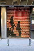 Spray painted artwork  sign for El Sotano music club, Lavapies, Madrid city centre, Spain