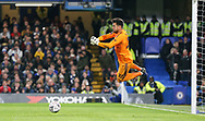Manchester United Goalkeeper Sergio Romero makes a save during the The FA Cup 5th round match between Chelsea and Manchester United at Stamford Bridge, London, England on 18 February 2019.