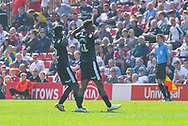 Tyrese Campbell of Shrewsbury Town (11) scores a goal and celebrates to make the score 1-1 during the EFL Sky Bet League 1 match between Barnsley and Shrewsbury Town at Oakwell, Barnsley, England on 19 April 2019.