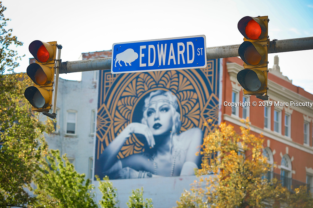 SHOT 10/23/19 8:01:47 AM - Edward Street signage in Buffalo, NY. Buffalo is a city on the shores of Lake Erie in upstate New York. Its fine neoclassical, beaux arts and art deco architecture speaks to its history as an industrial capital in the early 20th century. Its landmarks include the 398-ft art deco City Hall, the Frank Lloyd Wright–designed Darwin D. Martin House and the Albright-Knox Art Gallery, a Greek Revival museum with works by Picasso and Warhol. (Photo by Marc Piscotty / © 2019)