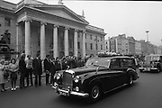 State Funeral Of Mrs Thomas Clarke..1972..08.10.1972..10.08.1972..8th October 1972..Today the state funeral of Mrs Kathleen Clarke took place at the Pro Cathedral, Dublin. Mrs Clarke was the wife of the late Thomas Clarke who was executed in Kilmainham Jail in 1916. Thomas Clarke was a signatory of the Irish Proclamation of 1916...Image taken as the cortege stops at the General Post Office (GPO) in memory of Mrs Clarke's husband Thomas. He was one of the leaders of the 1916 rising. Along with many volunteers, Thomas Clarke held out against the British army here over the Easter period.