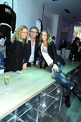 Left to right, CAROLE GERLAND Creative Director of Zadig & Voltaire, THIERRY GILLIER CEO of Zadig & Voltaire and CECILIA BOMSTROME at a party hosted by Kate Sumner at Zadig & Voltaire to celebrate the brand's arrival in London at 182 Westbourne Grove, London W11 on 14th October 2008.