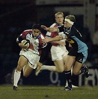 Photo: Jed Wee.<br /> Leeds Tykes v Bristol Rugby. Guinness Premiership. 10/02/2006.<br /> <br /> Bristol's David Lemi (L) attacks.