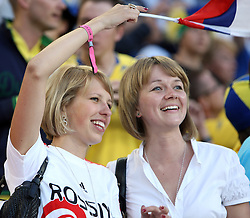 Fans of Russia before the UEFA EURO 2008 Group D soccer match between Sweden and Russia at Stadion Tivoli NEU, on June 18,2008, in Innsbruck, Austria. Russia won 2:0. (Photo by Vid Ponikvar / Sportal Images)