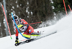 """Jonathan Nordbotten (NOR) competes during 1st Run of FIS Alpine Ski World Cup 2017/18 Men's Slalom race named """"Snow Queen Trophy 2018"""", on January 4, 2018 in Course Crveni Spust at Sljeme hill, Zagreb, Croatia. Photo by Vid Ponikvar / Sportida"""