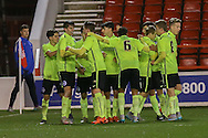 Brighton celebrate Brighton U18 Archie Davies goal  during the FA Youth Cup match between U18 Nottingham Forest and U18 Brighton at the City Ground, Nottingham, England on 10 December 2015. Photo by Simon Davies.