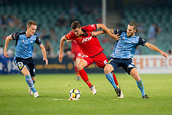April 8, 2018 - Sydney, NSW, U.S. - SYDNEY, NSW - APRIL 8: Adelaide United forward George Blackwood (14) dribbles the ball under pressure from Sydney FC midfielder Joshua Brillante (6) and Sydney FC midfielder Brandon O'Neill (13) at the A-League Soccer Match between Sydney FC and Adelaide United on April 8, 2018 at Allianz Stadium in Sydney, Australia. (Photo by Speed Media/Icon Sportswire) (Credit Image: © Speed Media/Icon SMI via ZUMA Press)