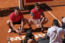 May 13, 2018 - Madrid, Spain - Nikola Mektic and Alexander Peya they win the final of men's doubles,  day nine of the Mutua Madrid Open tennis tournament at the Caja Magica on May 13, 2018 in Madrid, Spain. (Credit Image: © Oscar Gonzalez/NurPhoto via ZUMA Press)