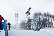 Jake Pates, USA, during the mens halfpipe qualifications at the Pyeongchang Winter Olympics on 13th February 2018 at Phoenix Snow Park in South Korea.