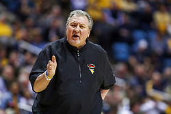 Mar 7, 2020; Morgantown, West Virginia, USA; West Virginia Mountaineers head coach Bob Huggins argues a call during the first half against the Baylor Bears at WVU Coliseum. Mandatory Credit: Ben Queen-USA TODAY Sports